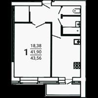 1-комнатная, 43.56