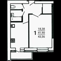 1-комнатная, 43.56 м2
