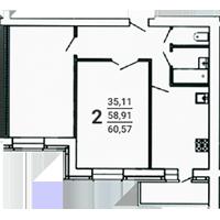 2-комнатная, 60.57
