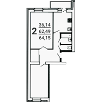 2-комнатная, 64.15