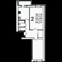 2-комнатная, 64.31