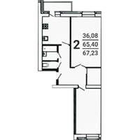 2-комнатная, 67.23