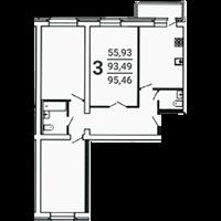 3-комнатная, 95.46
